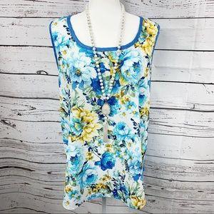 Bobeau Blue & Yellow Floral Sleeveless Blouse - 1X